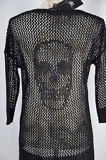 Rock & Republic Womens M NEW Sheer Crochet 3/4 Sleeve ShirtTop Skull Vneck Hi Lo