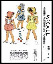 Pattern McCall #1180 Romper Sunsuit Playsuit DRESS BONNET GIRL TODDLER Child Hat