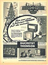 PUBLICITE ADVERTISING 124  1955  DUCRETET THOMSON  les émetteurs radio télevisio