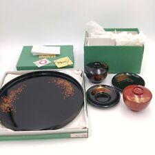 Vintage Momiji Japanese Lacquerware Set - Platter, Bowls, Saucers - Unused!