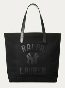 Polo Ralph Lauren New York NY Yankees MLB Black Limited Ed Leather Tote Bag NWT