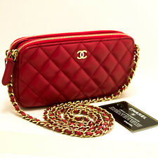 CHANEL Authentic Red Wallet On Chain WOC Double Zip Chain Shoulder Bag m84