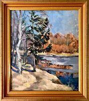 painting art IMPRESSIONISM old vintage soviet lyrical landscape Autumn river