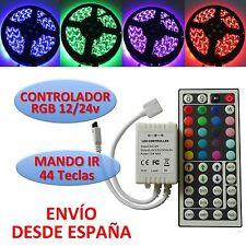 Controlador RGB Tira Led 5050 + Mando 44 teclas Infrarrojos 12/24v Controller IR