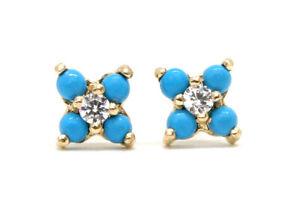 9ct Gold Turquoise and CZ studs Cluster Earrings Gift Boxed Made in UK