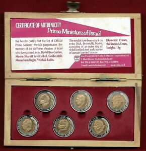 Prime ministers of Israel 6 bimetallic medals in olive wooden box + coa