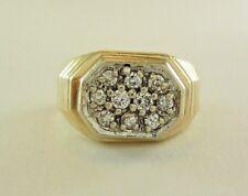 MENS 14K YELLOW GOLD DIAMOND CLUSTER TEXTURED RING; TDW 0.46CT. 8.1G