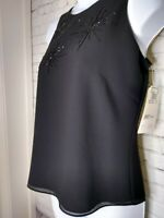 Adrianna Papell Women Sequin Evening Top Size S Black Fully Lined Sleeveless