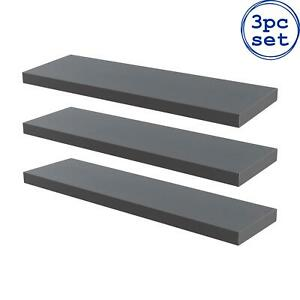 3x Wooden Floating Shelves Wooden Wall Mounted Storage Living Room 80cm Grey