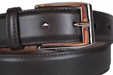 New Gucci Mens Dark Brown Leather Belt with Classic Square Buckle 336831 100  40