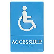 """Quartet ADA Wheelchair Accessible Sign, 6"""" x 9"""", Blue, Each (CLQRT01409)"""