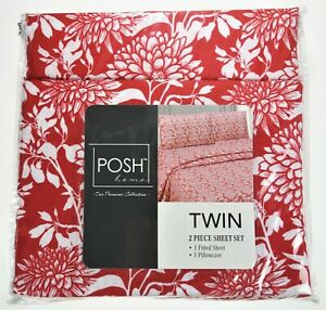 2 Pc Sheet Sheet Microfiber Red Floral Mini Set 1 Fitted Sheet + 1 Pillowcase