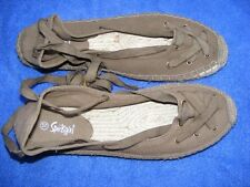 SPORTSGIRL Flat KHAKI SHOES Canvas ESPADRELLE Ankle Tie Size 6 NEW Comfy-Trendy