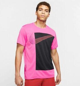 NEW Nike Men's Dri-Fit Superset PX Large Swoosh Short Sleeve Shirt Pink Medium