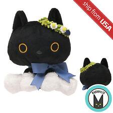 Japan San-X Kutusita Nyanko Lucky Cat Black Neko Wreath Plush Toy Kawaii Cute US