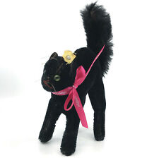 Steiff Black Tom Cat Halloween Kitty Mohair Plush 14cm 5.5in 1960s ID Button Tag