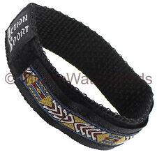18mm Hirsch Action Sport Wrap Nylon Chevron Pattern Embroidered Black Watch Band