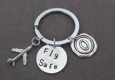 Fly Safe Keychain,Long Distance Gift,Pilot Gift,Airplane Keychain,Depoyment gift