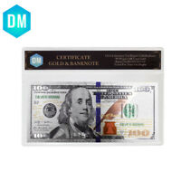 New Usd 100 Colorful Banknote 999 Silver Plated Banknote with COA Frame Gifts