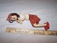Vintage Primitive Bendable Wire DOLL with Wood Shoes - Estate Find