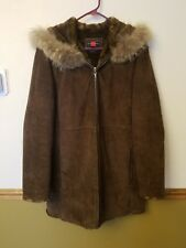 Gallery 100% leather Women's Large hooded long coat, Faux Fur collar and lining