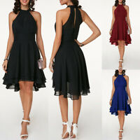 Women's Halter Chiffon Sleeveless Swing Dress Ladies Party Evening Gown Dresses