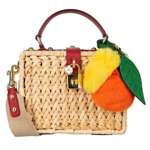 DOLCE & GABBANA Orange Lemon Raffia woven DOLCE BOX Bag Beige Red 07930