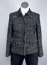 "$598 Lafayette 148 10/12 Black White Tweed Fringe 5 Snap 38"" Bust Jacket Blazer"