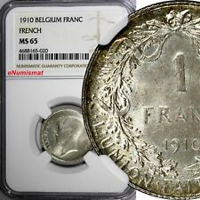 Belgium Albert I Silver 1910 1 Franc NGC MS65 French BETTER DATE KM# 72.1