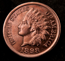1898 Indian Head Penny Cent // AU-Uncirculated (red) // Near Four Diamonds(I823)