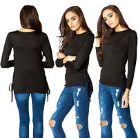 Womens Black Lace Up Long Sleeve Blouse Top Jumper Shirt Size New UK Size