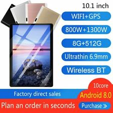 """10.1"""" inch WIFI HD Tablet Android 8.0 Pad 8+512GB SIM GPS Dual Camera MP5 Player"""