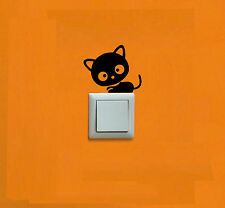 GATO - PEGATINA - STICKER - LLAVE LUZ - ENCHUFE - VINILO - WALL DECAL - VINYL