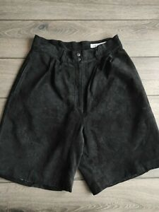 Ladies Vintage David Hollis Black Genuine Leather High Waist Shorts Size 12