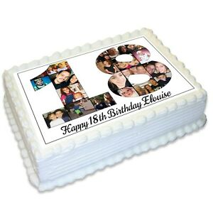 Birthday Number Photo Collage 18th 21st Birthday A4 Edible Icing Cake Topper