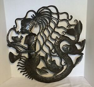 "Sirene/ Mermaid Metal Sculpture Haitian Art 23"" X 23"""