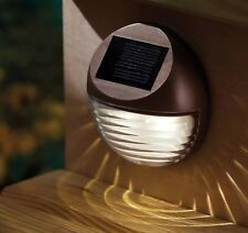 3 X DECORATIVE SOLAR GARDEN LIGHTS OUTDOOR FENCE STEP GUTTER FENCE LAMPS BROWN
