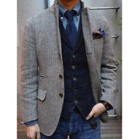 Gray Herringbone Tweed Tuxedo Jackets British Men Suit Slim Fit Wedding Suits
