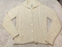 Gorgeous Classic Cable Knit L.L. Bean Ladies Off White Cardigan Size Small S