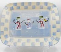 Hartstone Pottery Snow People Platter Snowman Christmas Crate & Barrel Checks #2
