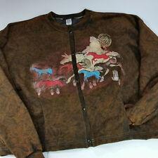 Vintage Stone Aged Rockwear Horses Cave Drawing Stonewashed Fleece Jacket Xl