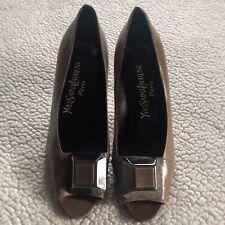 c6f7ede6b5f Ysl Yves Saint Laurent Womens Brown Patent Leather Pumps Open Toe Heels Size  8 M