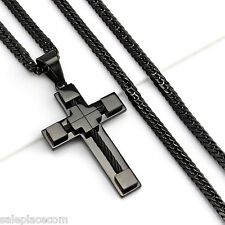 "24""MEN Stainless Steel 6mm Black Double Cuban Chain Necklace Cable Cross Pendant"