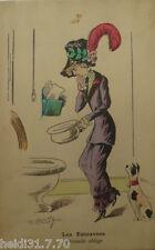 """""""Toilette, WC, Klo, Frauen, Hutmode, Töpchen, Hund""""1910, sig. R. Roberty♥(14600)"""