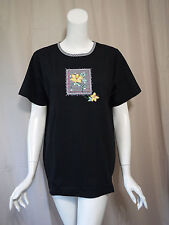 NWT New Quacker Factory Black Cap Sleeve Blouse Top size M