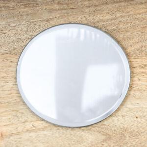 12cm Round Mirrored Clear Glass Candle Plate Drinks Mug Coaster Pillar Tealight