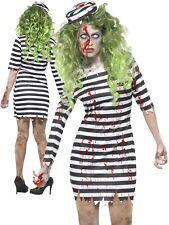 Ladies Zombie Convict Costume Prisoner Jailbird Halloween Fancy Dress S-XL