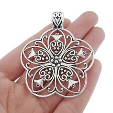 2 x Tibetan Silver Large Filigree Flower Charms Pendants for Jewellery Making