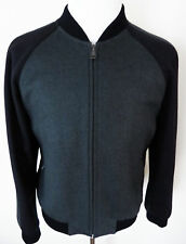 $5400 BRIONI Two Tone Black and Gray Cashmere Blend Bomber Jacket Size Large