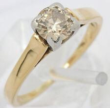 ♦♦Diamant Ring in 585 14kt Gelb Weiß Gold mit Solitär Diamant Brillant Brilliant